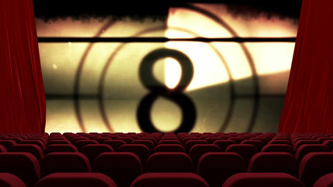 Countdown on empty theater screen 4k Animation