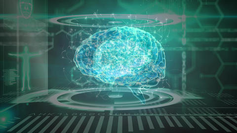 Science Composition Animated brain combined with illustrations colored in blue and gre Animation