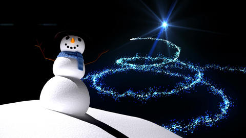 Snowman with magical Christmas tree Animation