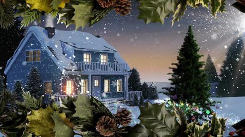 Christmas home with Christmas tree and holly border Animation