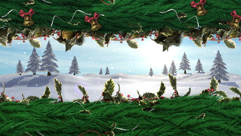 Christmas Holly wreath with bells and Winter landscape Animation