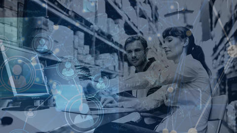 Warehouse Composition of Woman and man working in the warehouse combined with animation of c Animation