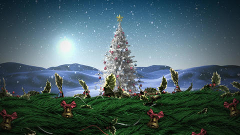 Christmas Holly wreath and bells with Christmas tree Animation
