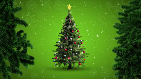 Christmas tree and snow Animation