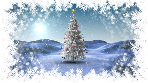 Christmas snowflake border with tree in Winter landscape Animation