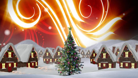Christmas Winter village and glowing sky Animation
