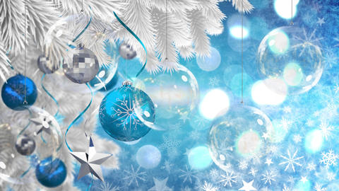 Christmas decorations and snowflakes Animation