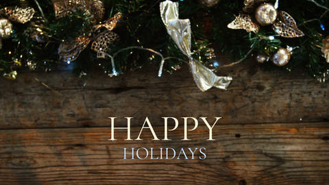 Happy holidays text and Christmas decoration Animation