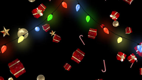 Christmas lights and falling gifts and decorations Animation
