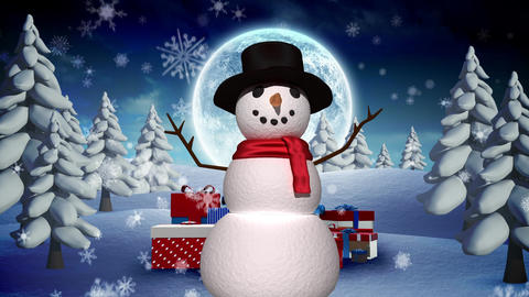 Snowman in Winter Christmas landscape Animation