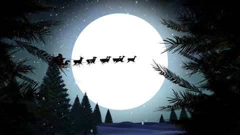 Santa in sleigh with reindeer flying over moon with trees CG動画