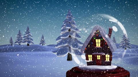 Christmas animation of illuminated hut 4k Animation