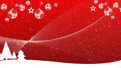 Digital animation of Christmas landscape with decoration on red background 4k Animation