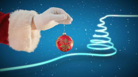 Santa holding Christmas bauble and Christmas tree Animation