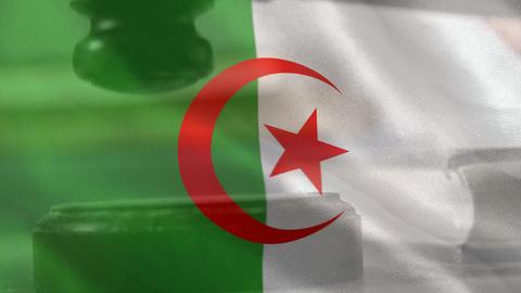 Digitally composite of Algerian Flag and gavel 4k Animation