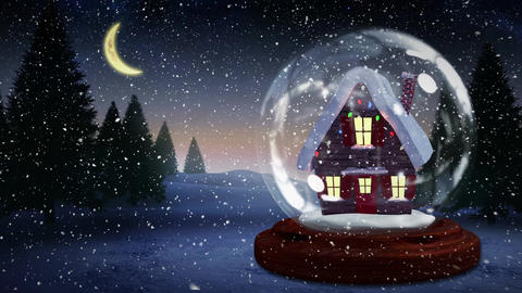 Cute Christmas animation of illuminated hut 4k Animation
