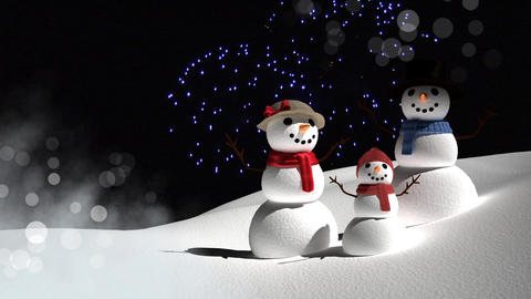 Snowmen family with New Year firework celebrations Animation