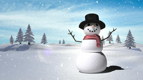 Snowman with Christmas Winter landscape Animation