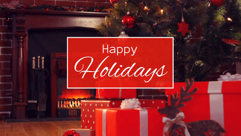 Happy holidays text and Christmas home with tree Animation