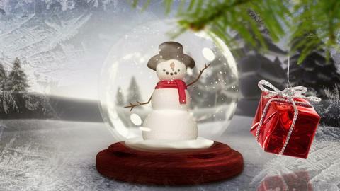 Snowman in snow globe with Christmas decoration Animation