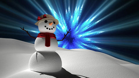 Snowman with magical lights Animation