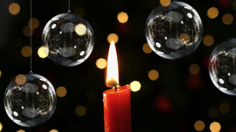 Christmas candle with decoration baubles and lights Animation