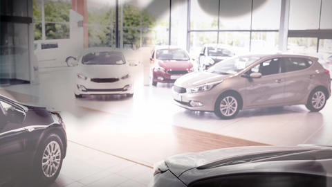 Digital animation of cars at showroom 4k Animation
