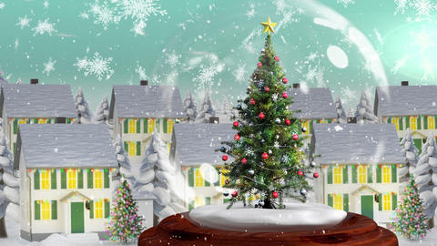 Beautiful Christmas animation of Christmas tree in the magical village against the snowflakes fallin Animation