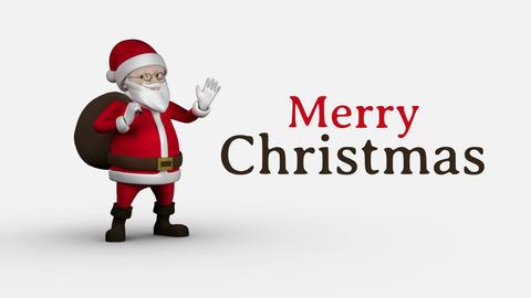 Merry Christmas text and Santa Animation