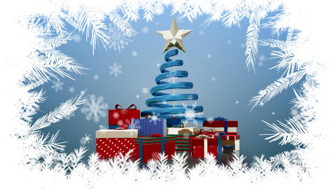 Christmas tree and gifts with branches border Animation