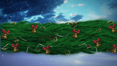 Christmas Holly wreath with snowing sky Animation