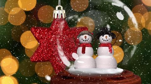 Cute Christmas animation of snowman couple in snow globe 4k Animation