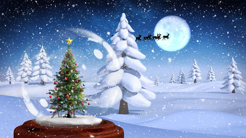 Cute Christmas animation of Christmas tree against snow covered landscape 4k Animation