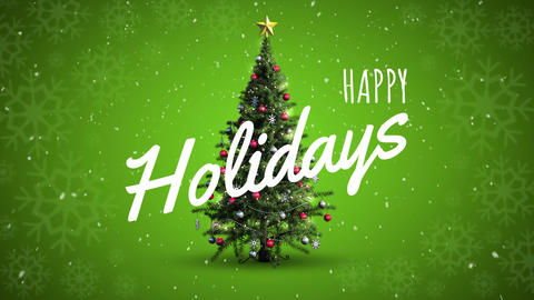 Happy holidays text and Christmas tree Animation