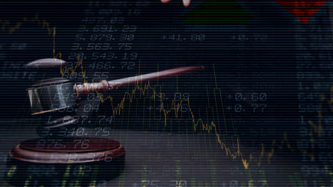 Conceptual digital animation of a business graph against the financial figures on the screen 4k Animation