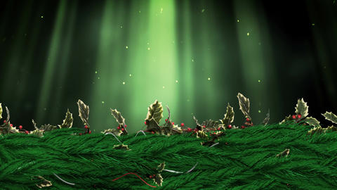 Christmas Holly wreath with streams of light particles Animation