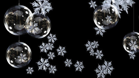 Christmas baubles and snowflakes Animation