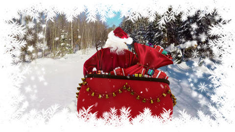 Santa travelling in sleigh with winter landscape and trees Animation