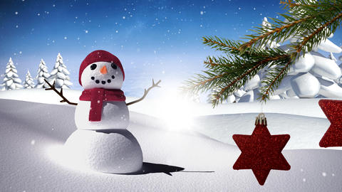 Snowman with Christmas decorations Animation