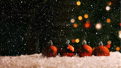 Christmas animation of Christmas ornaments against bokeh background 4k Animation