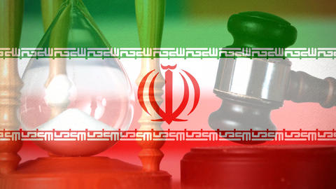 Digitally composite of grunge Iran Flag and hour glass 4k Animation