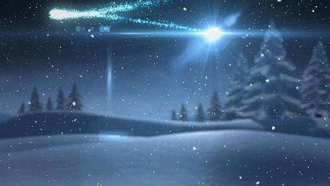 Video composition with snow over winter scenery Animation