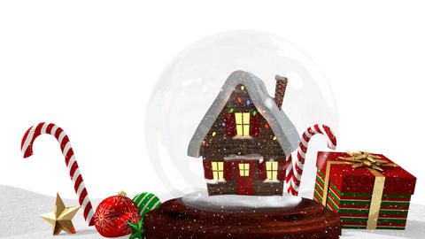 Cute Christmas animation of snow house and Christmas gift on snowy landscape 4k Animation