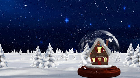 Cute Christmas animation of hut in snow globe in magical forest 4k Animation