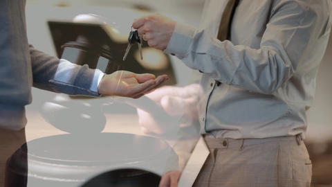Digital animation showing sales executive giving car keys to the owner 4k Animation