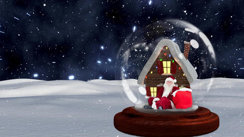 Cute Christmas animation of hut and Santa Claus in snow globe against space background 4k Animation