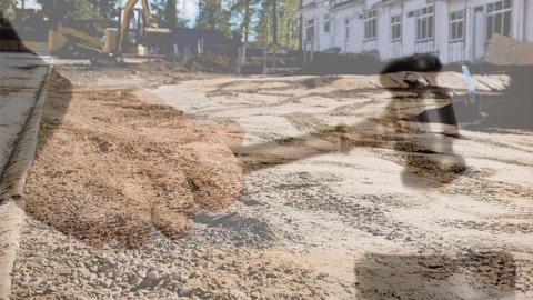 Digital animation of excavator at construction site 4k Animation
