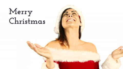 Merry Christmas text and beautiful Santa woman Animation