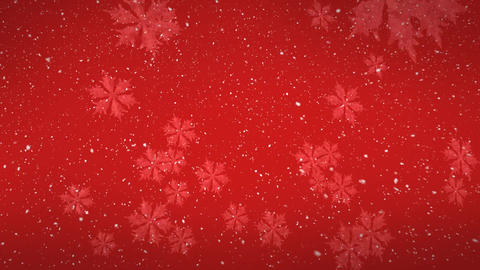Digital animation of snowflakes falling against red background 4k Animation