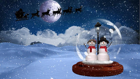 Digital animation of snowman couple in snow globe 4k Animation